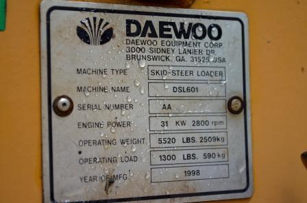 Daewoo dsl 601 Manual on
